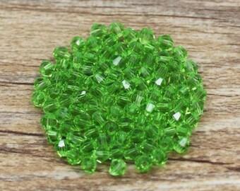 4mm (100) Peridot Green Bicone Glass Crystals Peridot Green Crystal Beads Loose Beads Faceted Crystals for Jewelry Making