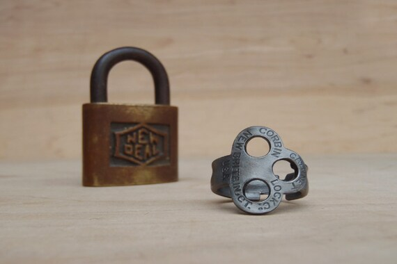 Antique Padlock Key Ring (size 9) - Corbin Clover - Jewelry - Vintage - Powder Coated - Handmade - Historic