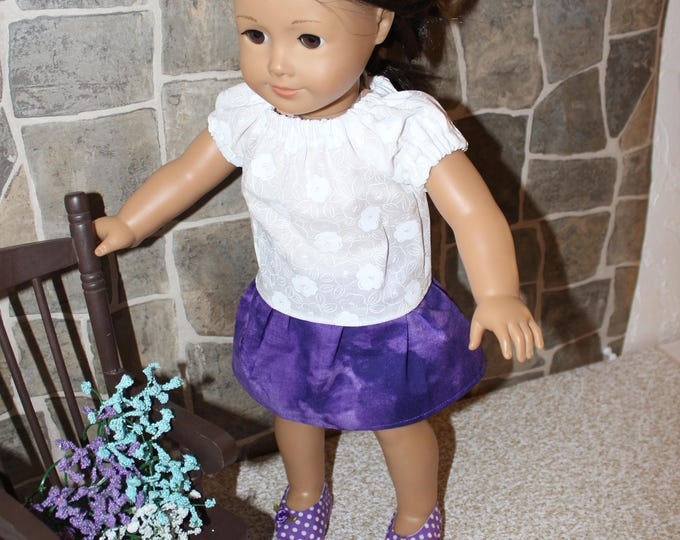 "Ready for School,White Blouse,Purple Skirt and shoes. To fit the likes of AG and other 18"" dolls FREE SHIPPING"