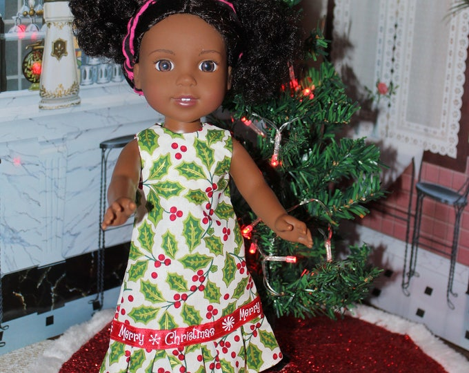Christmas Hollie Handmade Dress with Ruffle and Shoes made to fit dolls like the Willie Wisher, and other 14.5 inch Dolls  FREE SHIPPING
