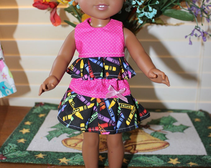 Pink top, crayon print skirt w/ruffles and Matching Shoes  to fit the wellie wisher and Heart to Heart and other 14 5 dolls Free Shipping
