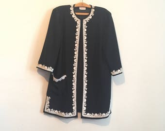 80s black midi coat, cropped sleeve opera coat, lace embroidery,  large - vintage -