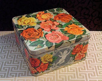 Large Vintage Tin Box, Roses Cherubs, 1950s, Dramatic Roses, Vintage Biscuit Tin, Romantic Décor, Peek Frean, Floral Flower Art, Mid Century