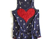 Sequin Star Tank Top. 4th of July Tank. Sequin Heart. Stars and Stripes. Fourth of July Shirt. American Sweetheart. USA Tank. July 4th Tank