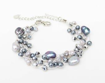 Black silver gray freshwater pearl bracelet with crystal, glass pearl, hematite on silk thread, Multistrand bracelet