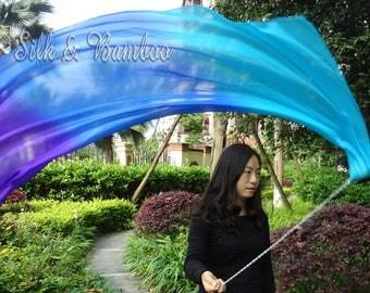 1pc detachable Mystery 1.35m*0.6m dance silk veil poi, hand painted 5mm silk veils, hand rolled edges