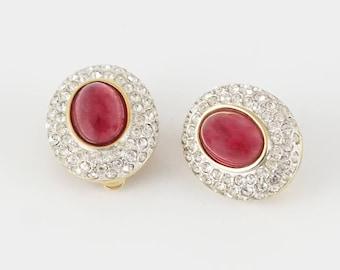 Carolee Earrings, Gripoix Earrings, Oval Rhinestone Earrings, Vintage Rhinestone Earrings, Poured Glass, Carolee Rhinestone Clip On Earrings