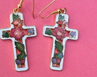 Vintage Earrings White   Enamel Cloisonne Cross Flower Flowers