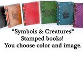 Symbols Animals and Mythic Beasties  Books - choose stamp and color - by Crimson Chain leatherworks - Artist Sketchbook