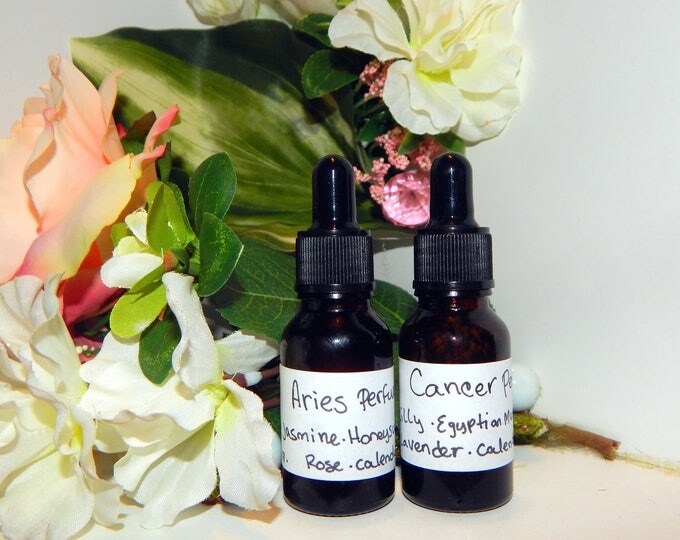ZODIAC PERFUME OILS, three sizes | for altar body anointing | High quality organic handmade with essential oils, crystals & herbs