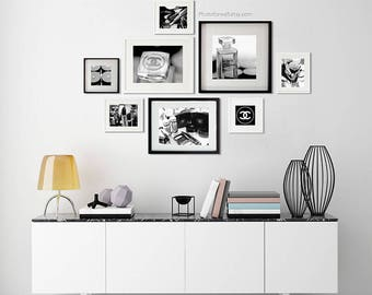 Chanel Luxury wall decor, Office wall Decor Set of 8 black and white photography/Chanel wall decoration/large wall art/nursery wall art