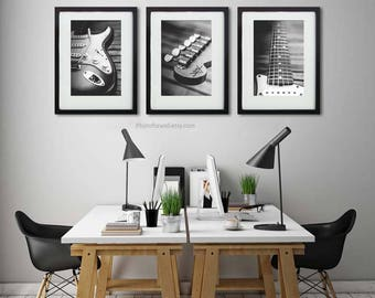 Fender electric guitar office decor/set of 3 prints/personalized wall decor/large wall art/black and white photography/guitar decor