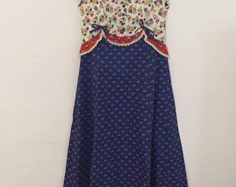Blue, Red and White Floral Print Maxi Dress - 1970s