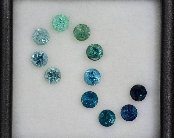 Stunning Blue and Green Concave Cut Tourmaline Gemstone Set 2.09 tcw.