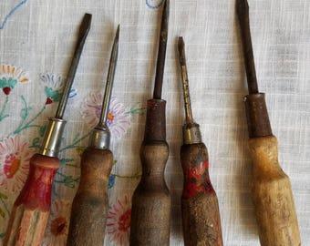 set of 5 ANTIQUE Wood-Handled SCREWDRIVERS