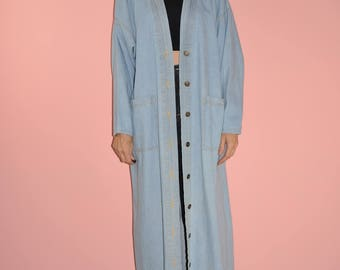 Vintage 90s Faded Denim Button Down Maxi Orvis Trench Jacket Robe One Size