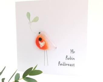 Christmas card personalised robin