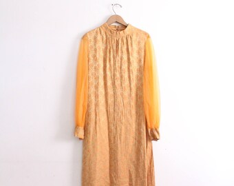 Orange Dream Brocade 60s Maxi Dress