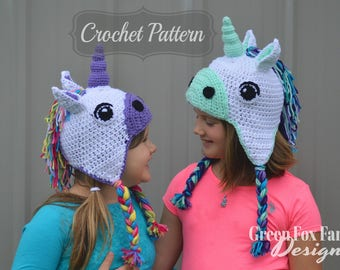 Crochet Pattern | Unicorn Hat Pattern | Crochet Unicorn Hat | Girls Unicorn Hat | Hat Crochet Pattern | Kids Unicorn Beanie | PDF Pattern