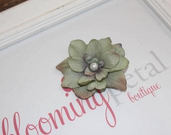 Moss Green Vintage Flower Clip