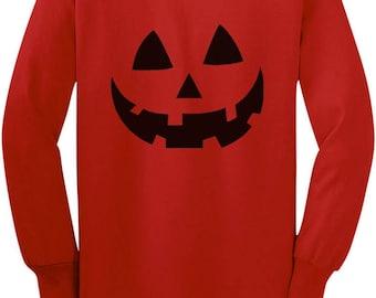 Jack O' Lantern Pumpkin Face Halloween Costume Toddler/Kids Long sleeve T-Shirt