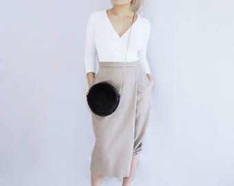 ECLIPSE cross body shoulder purse, black leather fanny pack / bag / fur suede