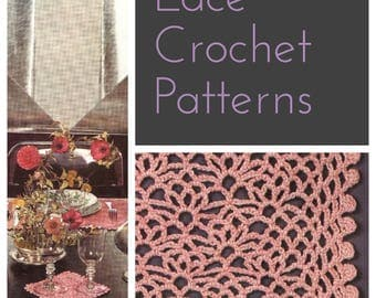 Pink Dining • 1970s Crochet Lace Table Mats Patterns • Vintage 70s Crocheting Pattern