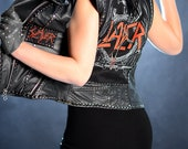 Biker leather vest with officially licensed Slayer backpatch and patch