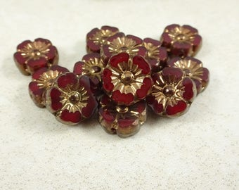 NEW - Czech Beads, Czech Glass Flower Beads, Dark Red, Garnet, Burgundy Flower with Copper Picasso (FL10/RJ-0775) - 10mm - Qty. 8
