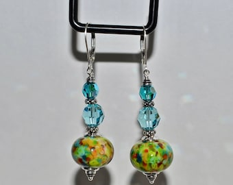 Gorgeous green/blue Lampwork Earrings