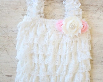 Cream and Pink Baby Romper and Headband - Photo Props, Newborn, Baby Girl Lace Romper