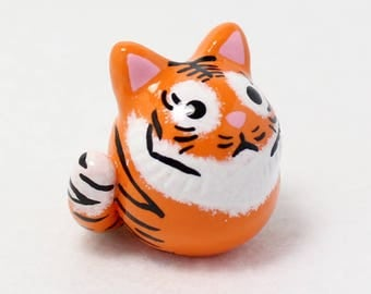 Chubby Tiger Totem - Polymer Clay Totem Animal - Polymer Clay Tiger - Tiger Miniature - Tiger Figurine - Tiger Sculpture - Fat Cat Miniature