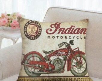 Indian Motorcycle Designer Pillow
