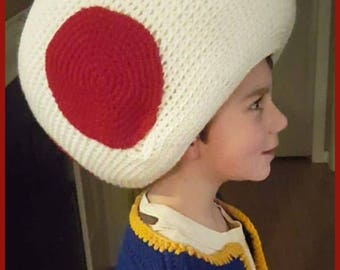 DIGITAL DOWNLOAD: PDF File Written Crochet Pattern for the Toad Costume Hat and Vest Combo