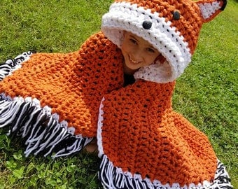 Hooded Fox Blanket, Fox Hooded Blanket, Fox Blanket, Hooded Blanket, Hooded Crochet Blanket, Crochet Fox Blanket, Crochet Hooded Fox Blanket