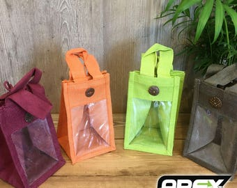 Beautiful Fabric Display and Gift Bags Jute with Clear Window - 4 Colours; Green, Orange, Red and Khaki