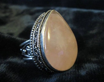 Charged Love Talisman - Rose Quartz Sterling Silver Ring 7.5