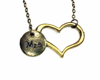 I Heart Mrs. Necklace: heart and Mrs. charms
