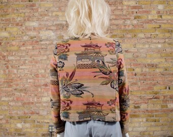vintage tapestry jacket / cropped jacket / tapestry blazer / asian blazer / needlepoint blazer / bolero jacket / floral jacket