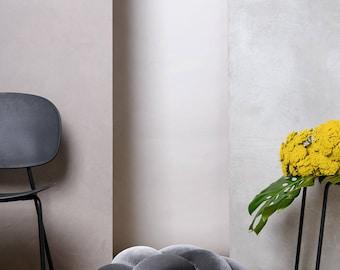 Medium knot Floor Cushion in Velvet Grey, Knot Floor Pillow pouf, Modern pouf, cushion, pouf ottoman, Pouf Ottomans