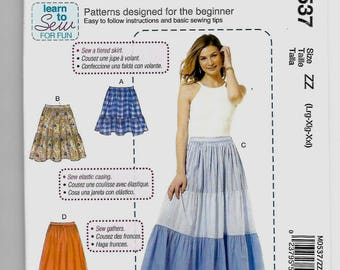 M0537 McCall's Pull on Skirts Sewing Pattern Sizes 16-26 Learn to Sew Sewing Pattern Teaches Sewing Tiered Skirt, Elastic Casing, Gathers