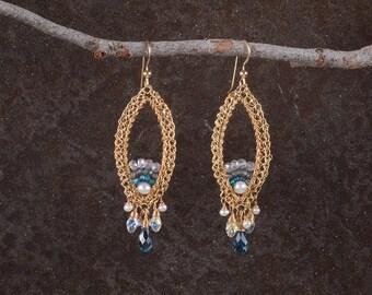 Long Earrings, Chandelier Large Statement Earrings, Gemstone Jewelry, 14K Gold Filled, Blue Stone Earrings, Crystals and Pearls Earrings,
