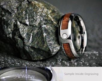 Tungsten Ring, Tungsten Band BF, Inlay Tungsten Band, His CZ Tungsten Ring, Tungsten Wood Inlay, Strong Men's Band, His Wood Tungsten Ring