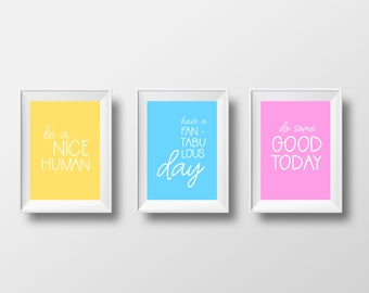 Positive Vibes Set of 3 Art Prints. Bedroom Decor Wall Art. Typographic Inspirational Quotes. Minimal Wall Art.
