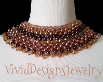 Layered Crystal and Pearl Briolette Bib Statement Necklace Gold and Brown Bib Bubble Statement Necklace