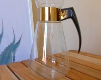 50s-60s glass jug golden details