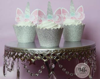 Unicorn Cupcake Topper, Unicorn cake, Unicorn Birthday, Unicorn Party, Unicorn Cake Topper, Unicorn head, Unicorn Decoration, Silver