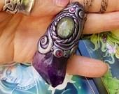 Lilith's Meditation - Vivid Blue Flash Labradorite & Uruguay Amethyst Crystal Energy Pendant - Intentional Manifesting, Deepened Intuition