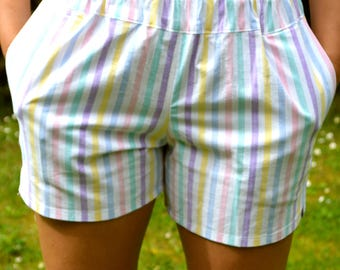 Beach shorts, pockets, vintage fabric, stripe print, candy stripe,  size small