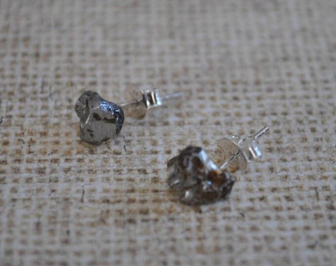 Genuine Meteorite Post Earrings,  simple, boho, minimalist, geekery